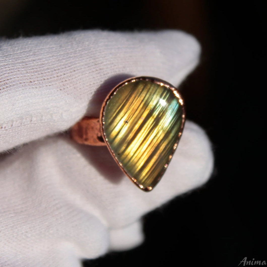 Large Labradorite Ring size 9.25 us | Electroformed Gold Labradorite Ring