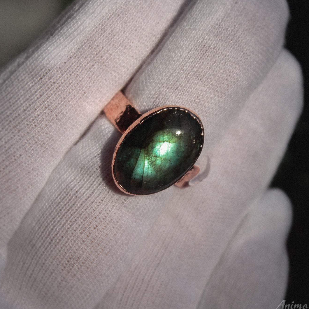 Green Labradorite Ring 9.5US