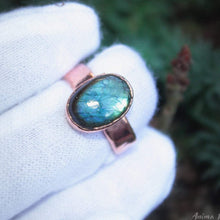 Load image into Gallery viewer, Blue Labradorite Ring Size 6.5 us copper ring