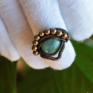 wire wrapped aquamarine ring