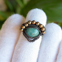 Load image into Gallery viewer, heady aquamarine ring with brass beads
