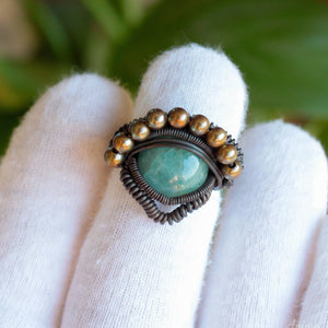 heady aquamarine ring with brass beads