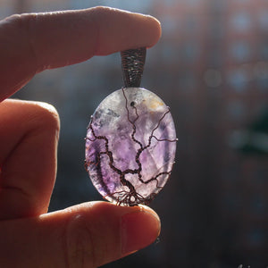 tree of life oval amethyst backlighted