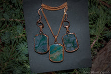Load image into Gallery viewer, Electroformed Earrings, Moss Agate Necklace Set, Witchy jewelry set, Copper earrings, Copper jewelry, Moss agate Jewelry, virgo gifts