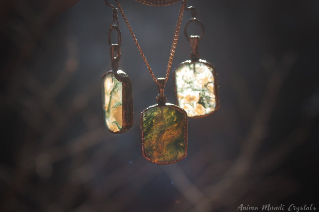 Electroformed Earrings, Moss Agate Necklace Set, Witchy jewelry set, Copper earrings, Copper jewelry, Moss agate Jewelry, virgo gifts
