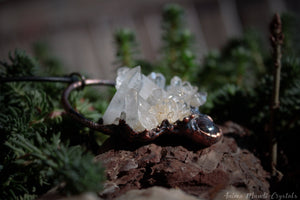 Raw Quartz necklace with Star Ruby | Electroformed Crystal Pendant