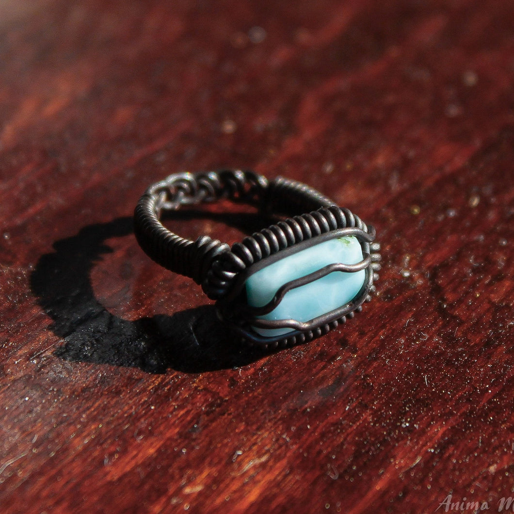 wire wrapped larimar ring