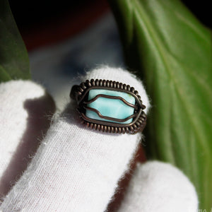 wire wrapped blue larimar ring
