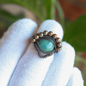 aquamarine copper ring with gold beads