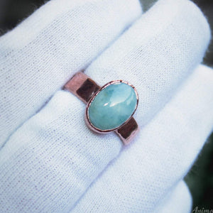 electroformed aquamarine ring wide band copper