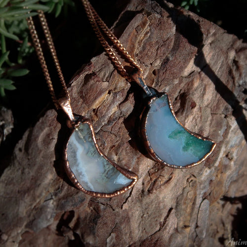 Electroformed Moon Necklace | Moss Agate Necklace