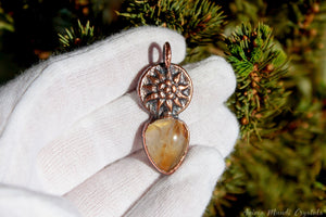 Gold Rutilated Quartz Pendant | Electroformed jewelry | Sun goddess necklace