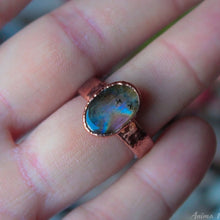 Load image into Gallery viewer, Electroformed Labradorite Copper Ring