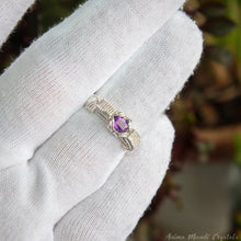 Load image into Gallery viewer, Faceted amethyst ring wire wrapped in silver filled wire