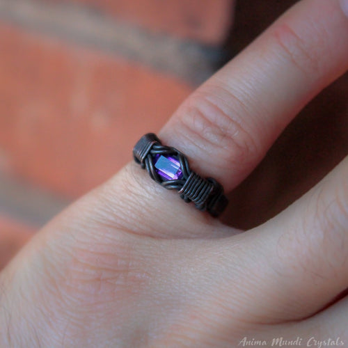 Black ring with amethyst