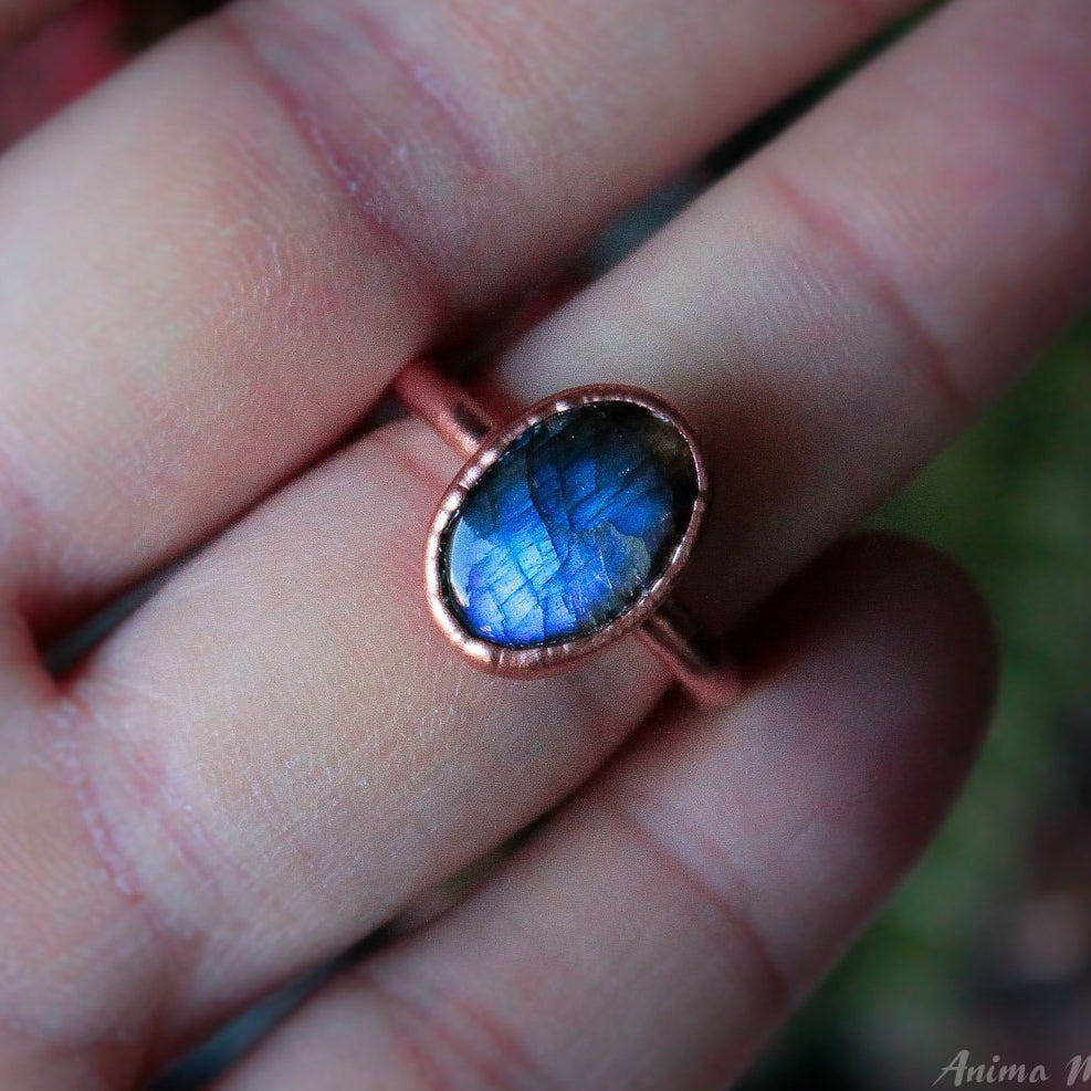 Blue Labradorite Stacking Ring size 7us | Electroformed Copper Ring
