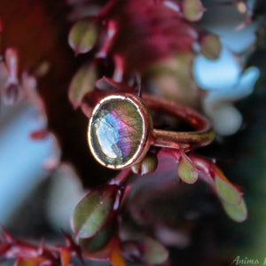 Purple Labradorite Ring Size 6.5US | Electroformed Labradorite Stackable Ring