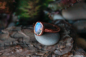 Rainbow Mmoonstone Ring Size 5.75us 8.5us | Electroformed Moonstone Stacking Ring