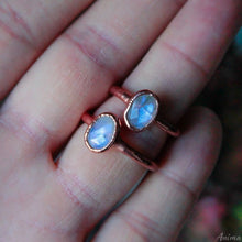Load image into Gallery viewer, Rainbow Mmoonstone Ring Size 5.75us 8.5us | Electroformed Moonstone Stacking Ring
