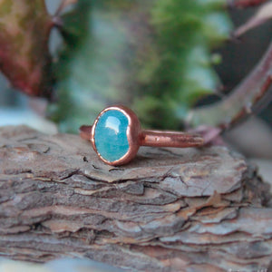 electroformed aquamarine ring thin band copper
