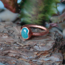 Load image into Gallery viewer, electroformed aquamarine stacking ring