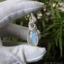 Load image into Gallery viewer, Moonstone Necklace with Tanzanite | Silver Filled Wrapped Pendant