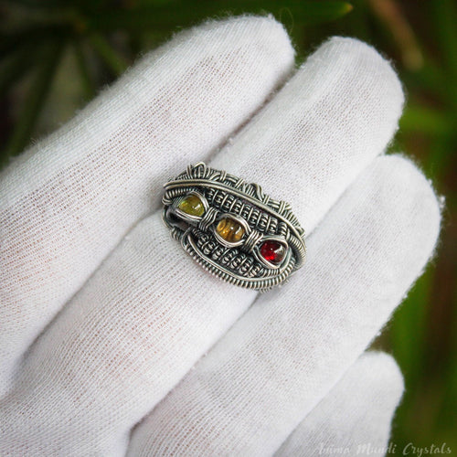 Wire Wrapped Ring with Citrine Peridot and Garnet | Silver filled Heady ring | Multistone Ring