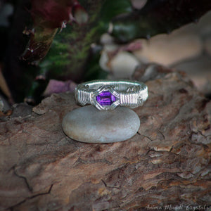 Faceted amethyst ring wire wrapped in silver filled wire