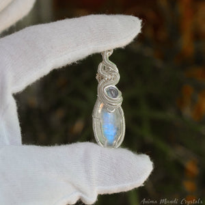 Moonstone Necklace with Tanzanite | Silver Filled Wrapped Pendant