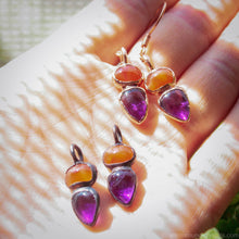 Load image into Gallery viewer, Electroformed Amethyst earrings with carnelian