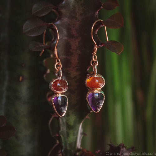 Electroformed Amethyst earrings with carnelian