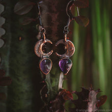 Load image into Gallery viewer, Crescent Amethyst Earrings | Electroformed Moon Phase Earrings