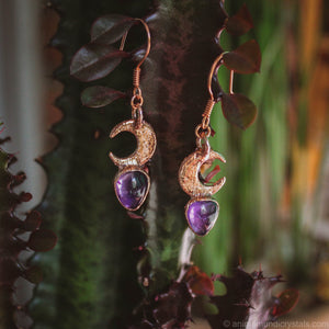 Crescent Amethyst Earrings | Electroformed Moon Phase Earrings