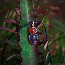 Load image into Gallery viewer, electroformed amethyst pendant with carnelian stone