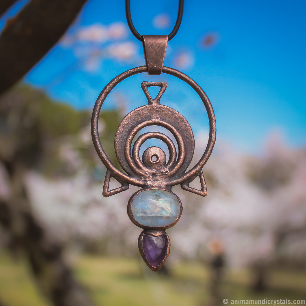 The Eye | Electroformed Amethyst Pendant with Moonstone | Festival Jewerly | Magical Amulet