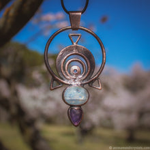 Load image into Gallery viewer, The Eye | Electroformed Amethyst Pendant with Moonstone | Festival Jewerly | Magical Amulet