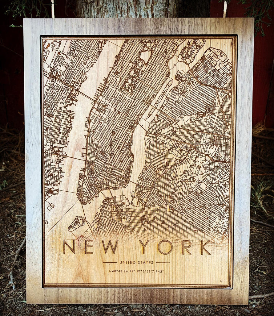 Wooden New York City Map - City Maps, Perfect Housewarming Gift!