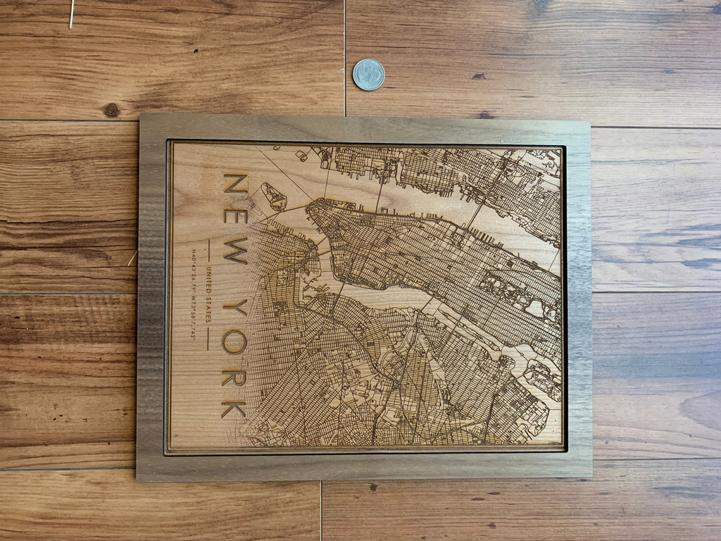 Wooden New York City Map