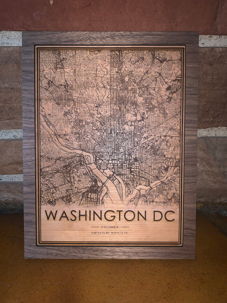 Wooden Washington D.C. City Map