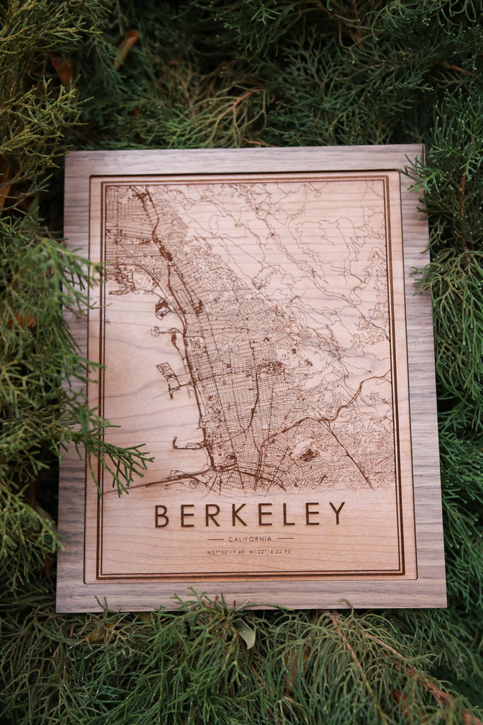 Wooden Berkeley City Map - City Maps, Perfect Housewarming Gift!