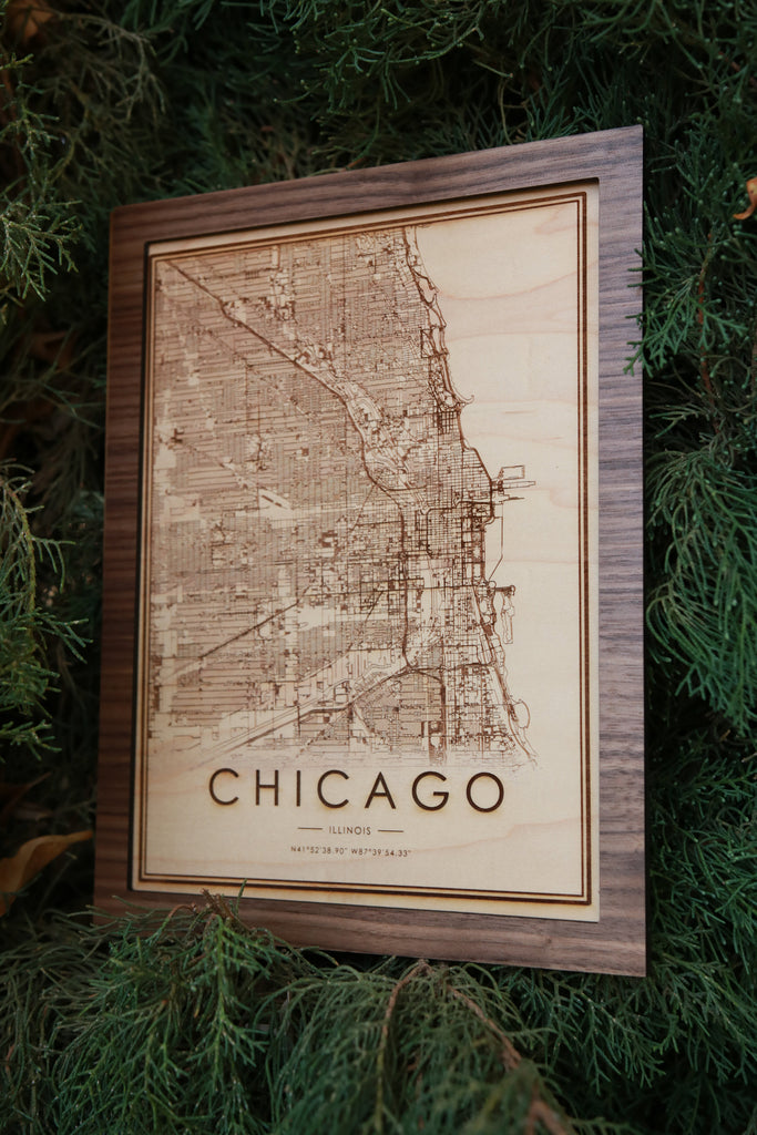 Wooden Chicago City Map