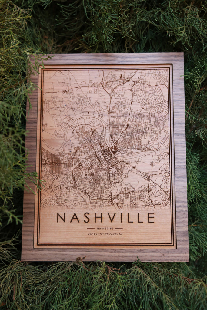 Wooden Nashville City Map - City Maps, Perfect Housewarming Gift!