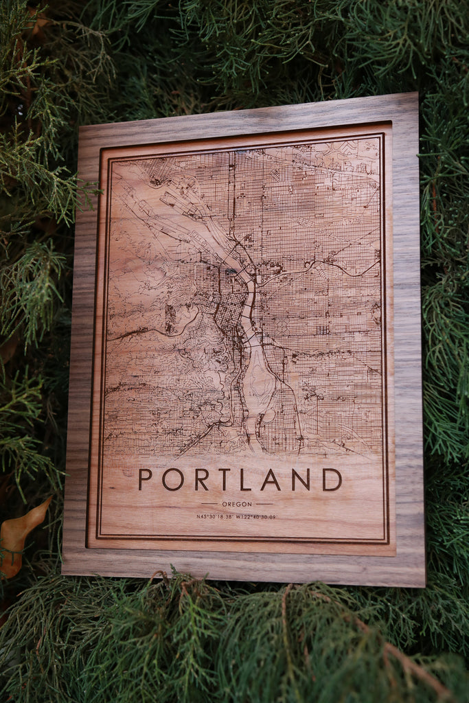 Wooden Portland City Map