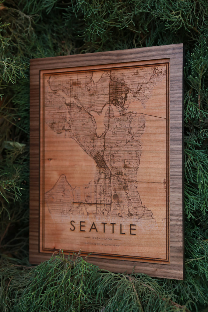 Wooden Seattle City Map