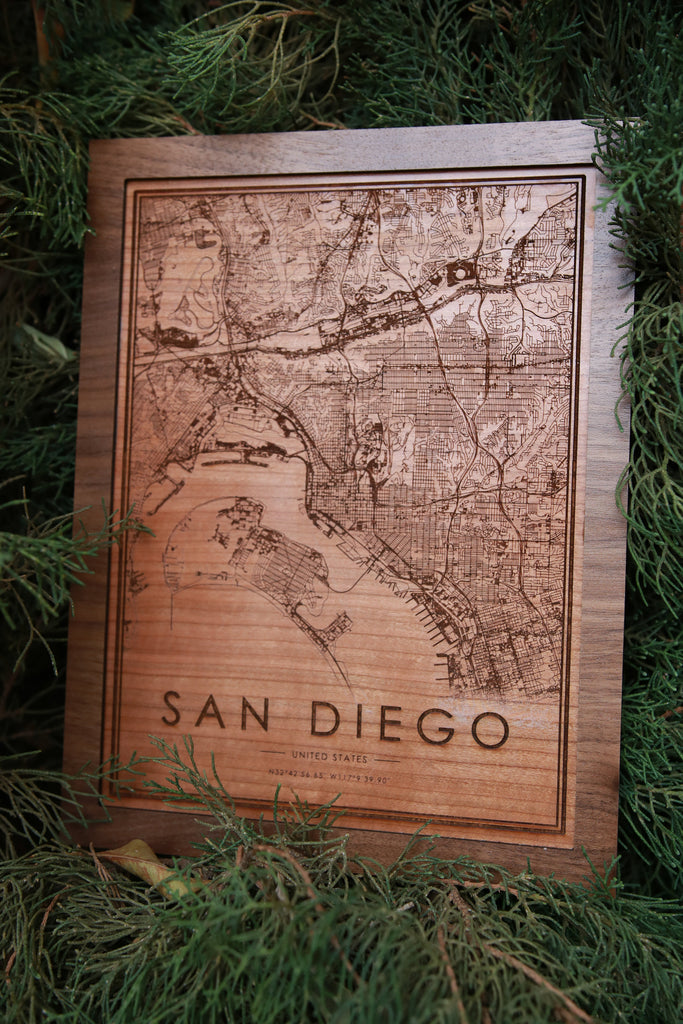 Wooden San Diego City Map