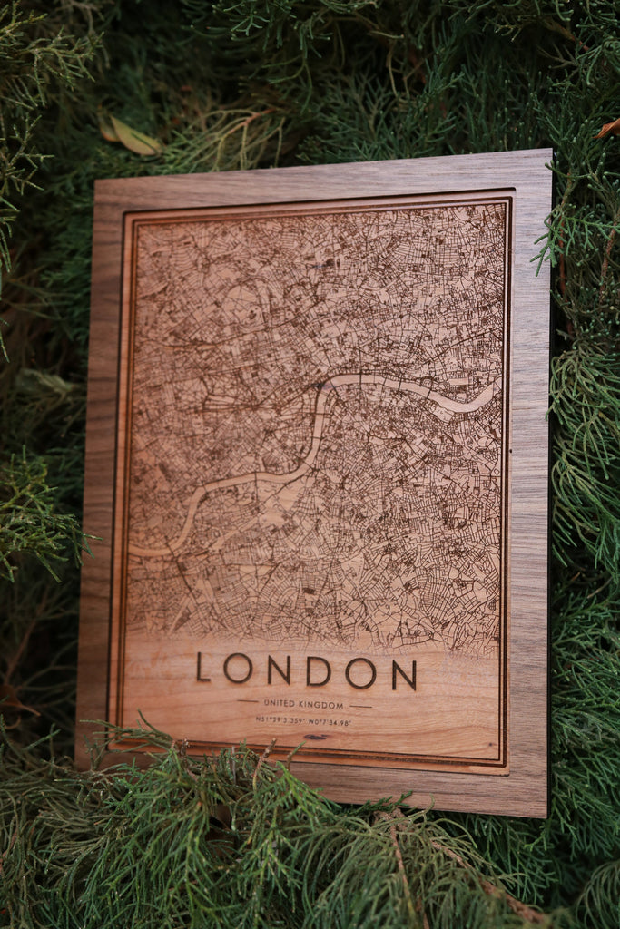 Wooden London City Map