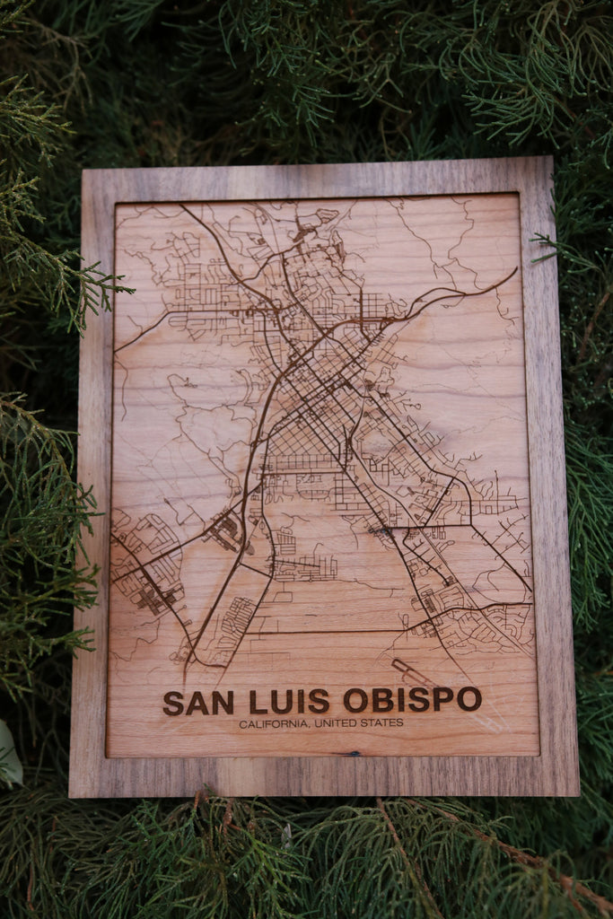 Wooden San Luis Obispo City Map - City Maps, Perfect Housewarming Gift!