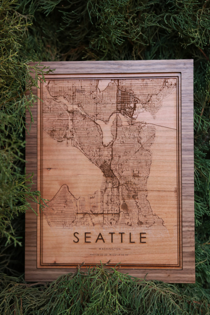 Wooden Seattle City Map - City Maps, Perfect Housewarming Gift!