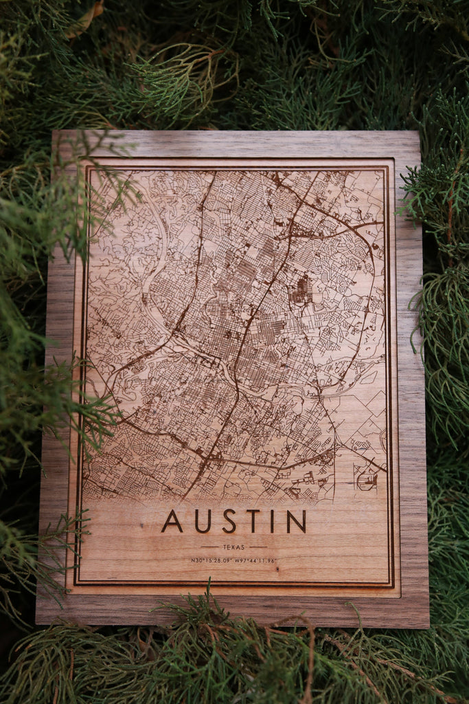 Wooden Austin Texas City Map
