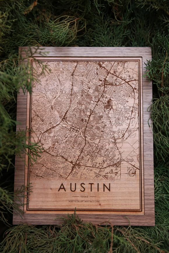 Wood Austin Texas City Map - City Maps, Perfect Housewarming Gift!